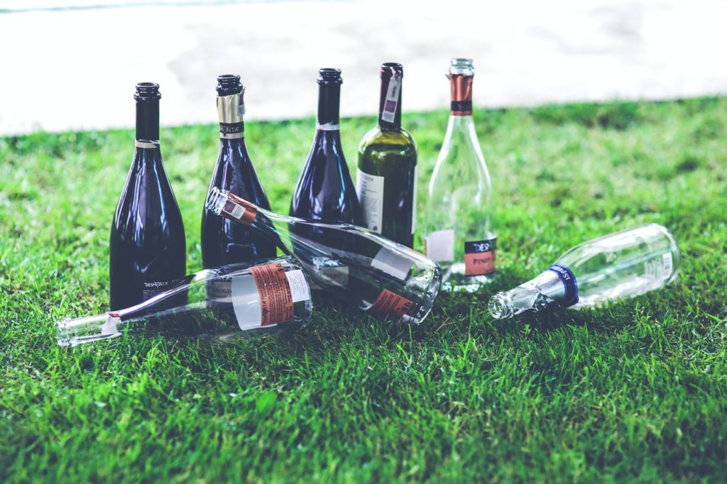 excessive alcohol consumption - empty bottles